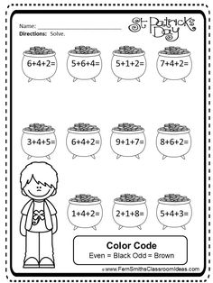 St. Patrick's Day Three Addend Addition Mega Math Pack - Printables and Games with an addition printable #FREEBIE in the preview. #TPT $