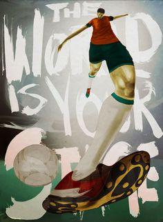 デフォルメされた体が躍動感のある、サッカーのイラスト。時空が歪んでるみたいw