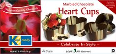 Chocolate Cups by Kane Candy. Marbled Chocolate Hear Cups. Great for Weddings, Valentines Day or just to make a heartfelt dessert for your sweetie!  www.KaneCandy.com