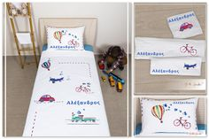 Bike, Car, Train & Hot Air Balloon bedding set - Jolove