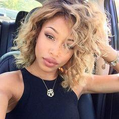 Curly, Caramel Blonde Lob