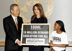 Secretary-General of the United Nations Ban Ki-moon, Queen Rania of Jordan and Nthabiseng Tshabalala Queen Rania of Jordan presents U.S. Secretary-General of the United Nations with a chalkboard petition representing her '1Goal: Education for All' campaign at the United Nations. Her Majesty cited the importance of raising awareness about the need to provide 18 million children with elementary education.