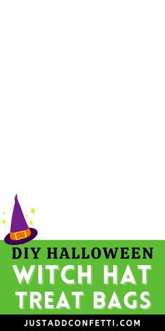 These DIY Halloween Witch Hat Treat Bags are such a fun & easy Halloween gift idea! Perfect for your entire boo crew—kids, neighbors, friends, teachers & co-workers alike will all be under the spell of these sweet candy witches! This Halloween treat is so simple to put together. All you need are cone shaped cellophane treat bags, candies and my witch printable. The witch printable is available in my Just Add Confetti Etsy shop. Also, head to justaddconfetti.com for even more Halloween ideas! Halloween Themed Food, Fun Halloween Crafts, Halloween Witch Hat, Healthy Halloween, Halloween Party Decor, Easy Halloween, Halloween Treats, Printable Labels, Party Printables