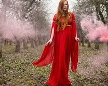 Fantasy dress, red dress, medieval fantasy dress,  long sleeved dress, fantasy costume