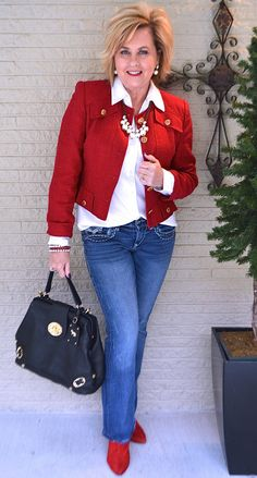 50 IS NOT OLD | HAPPY VALENTINES DAY | Cropped Jacket | Jacket & Jeans | Wearing Red | Fashion over 40 for the everyday woman