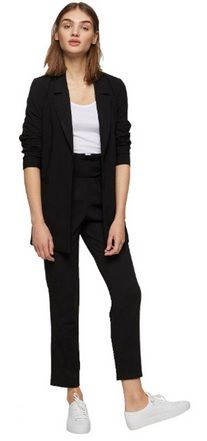 White top+black slack pants+white sneakers+black blazer. Fall Transitional Casual Business Outfit