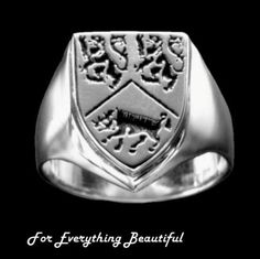 Irish Surname Coat of Arms Sterling Silver Mens Ring
