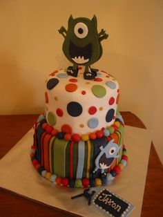 Two tier monster theme cake.