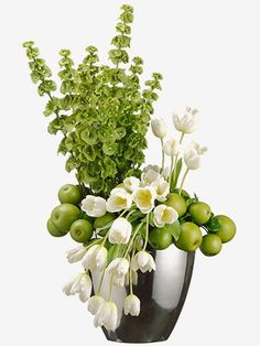"""A room in bloom.  WF1468-GR/WH  35""""Hx18""""Wx19""""L Tulip/Apple/ Bells of Ireland in Oval Vase Green White"""