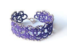 Violet acai lace bracelet with glass beads Purple by LandOfLaces