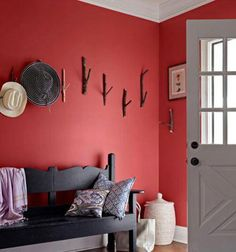 Want a great red? I found it and it's Benjamin Moore's CALIENTE AF-290!! Love, love, love (did I say love?) this red-not too much, not too bright.