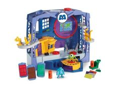 Fisher-Price Imaginext Monsters University Monsters Scare Factory (746775165277) Experience what a day with Mike and Sulley would be like at the Scare Factory Visit the mail room and help sort packages Go to the Scare floor to operate the doors moving through the factory Place a scare canister on the holder, rotate the disk and watch it fill There is a lot to do, Mike and Sulley invite you to help them with their daily activities with this fun Imaginext playset