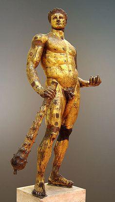 Hercules, Musei Capitolini. Artist Unknown. Gilded bronze, Roman artwork, 2nd century BC.  Found in the Forum Boarium (Rome), in the 15th century