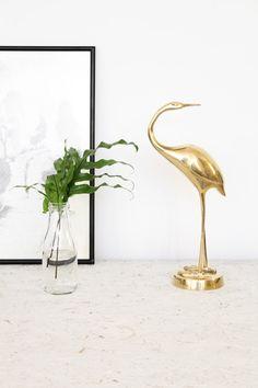 Vintage kraanvogel beeldje goudkleurig messing 33,5 cm