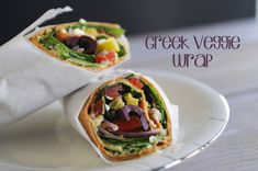 Greek Veggie Wrap, the perfect light and #healthy lunch to bring to work. #Recipe