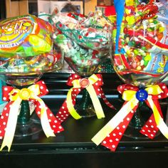 Candy dishes for a circus candy table.