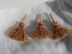 Lot of 3 Miniature Brooms For Dollhouse or Crafting. Natural materials. Tiny vintage craft supply for your collection.