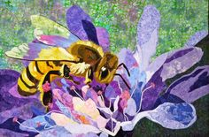 """Honey Bee by Kate Themel.  Windham Textile & History Museum. """"Inspiration Quilts: Then and Now"""" from May 16 to Sept. 7 2014."""
