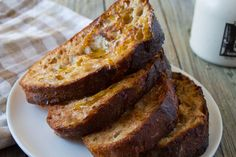 Vegan French Toast |  1/2 cup soy milk;  1/2 tsp vanilla extract;  1 tsp maple syrup;  1/4 tsp cinnamon;  1/3 banana, mashed;  bread slices |  coat bread slices with batter and cook over medium heat for about 5 minutes on each side #breakfast