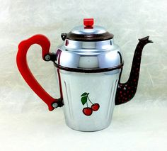 Vintage Chrome Coffee Pot, Bakelite, Decorative 1950s Retro Kitchen Decor, Hand Painted Cherries, Altered Vintage, Cottage Chic, Unique Gift