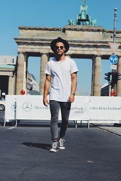 Converse Sneakers, Asos Jeans, H&M T Shirt, Giant Vintage Glasses, Topman Hat
