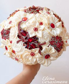 Brooch Bouquet. Ivory RED Fabric Bouquet, Unique Wedding Bridal Bouquet on Etsy, $220.00