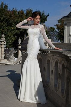 retro Wedding dress court trainbridal flower flower pleats lace gown Applique sheer Vestidos mermaid Pleated 2015 new arrival