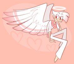 human/angel version of Angel Dust Angel Pictures, Art Pictures, Monster Hotel, Hotel Ads, Hazbin Hotel Angel Dust, Hotel Trivago, Vivziepop Hazbin Hotel, Ange Demon, Cartoon Crossovers