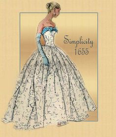Vintage Simplicity Pattern 1655 Stunning Strapless Formal Evening Gown and Short… Vintage Dress Patterns, Clothing Patterns, Vintage Dresses, Vintage Outfits, 1950s Fashion, Vintage Fashion, Fashion 2018, Dress Fashion, Fashion Trends