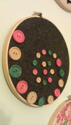 SALE SALE SALE Embroidery Hoop Wall Art Button Swirl by KDcrafty, $8.00