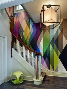 Contemporary Staircase with abstract Wall Mural Abstract Wall Art Mural for your Home