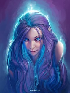elf girl with magic glowy hair by apterus.deviantart.com on @DeviantArt