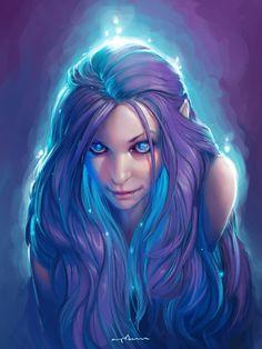 elf girl with magic glowy hair by apterus.deviantart.com on @DeviantArt