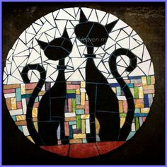 Cute black cat mosaic art with two whimsical cats.different shapes and sizes for different colors mosaic catsCats in LoveSaved by Elizabeth Mosaic Diy, Mosaic Garden, Mosaic Crafts, Mosaic Projects, Mosaic Wall, Mosaic Glass, Mosaic Tiles, Stained Glass, Glass Art