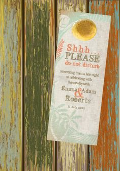 $20 for 20 #DoNotDisturb #weddingFavor #DoorHanger #BeachWedding #DestinationWedding by http://www.bestwelcomebags.com