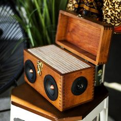 , Woodsmen , Introducing our latest handmade solid wood BoomCase. Made by a local woodworker in limited numbers this Alder Wood BoomCase opens up to allow storage . Diy Bluetooth Speaker, Diy Speakers, Wooden Speakers, Diy Amplifier, Vintage Diy, Boombox, Wood Species, Arcade, Woodworking Projects