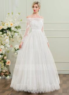 [US$ 174.99] A-Line/Princess Off-the-Shoulder Floor-Length Tulle Lace Wedding Dress
