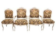 '30s Austrian Louis XV-Style Chairs, S/4