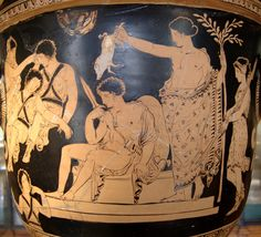 Orestes being purified by Apollo (Clytemnestra tryes to awake the sleeping Erinyes to the left). Side A from an Apulian red-figure bell-krater, 380–370 BC. From Armento?