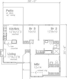 "Floor Plan First Story	 House Plan # 146-2950 Best Price Guaranteed   Floors:	1 Living Sq Feet:	1180 Bedrooms:	3 Full Baths:	2 Half Baths:	0 Garage Bays:	0 Width:	38' 0"" Depth:	36' 0"""
