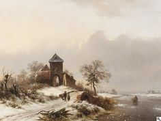 Frederik Marinus Kruseman - Winterliche Flußlandschaft. Am Ufer heimkehrende Reisigsammler vor einem Gehöft