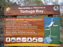 Welcome sign for Tortuga Bay, Galapagos Islands.