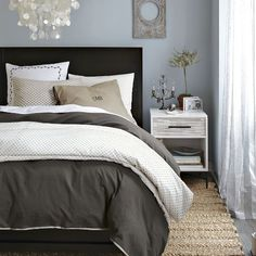 BR bedding has to be imple to showcase other;  the texture, white on whit etc will be calming w/ intrest. do the heart memories love above bed. sweater, furry cozy soft wo we want to stay there. white candles Swiss Dot Duvet Cover + Shams - White/Slate