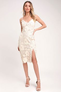 40c567dda2 Steal Your Heart Cream Crochet Lace Midi Dress Crochet Lace Dress, Lace  Midi Dress,
