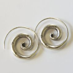 aa08db98f Beautiful Spiral Earring Dangle 925 Sterling Silver By Handmade Karen  Hilltribe Thailand