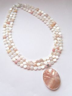 Three Strand Necklace  Mother of Pearl & by MissBusyBeeJewelry, $58.00
