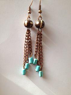Dangle earrings bead earrings african earrings by ThriftyUpenyu, $12.50