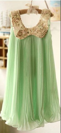 IN STOCK Mint green chiffon dress with gold by TrendyTotsClothing, $20.00