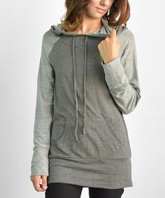 Look what I found on #zulily! Gray Kangaroo Pocket Hooded Tunic #zulilyfinds