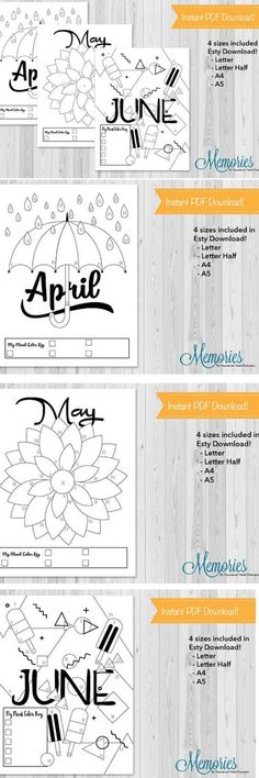 Monthly mood tracks for your bullet journal! Bullet Journals are a fun way to plan out your year! But it takes so much time! With these bullet template mood trackers you can track your mood all month long! #moodtrackers #bulletjournals #ad #printable #layouts #bujo #bulletjournalideas #bulletjournaljunkies #planners #etsy